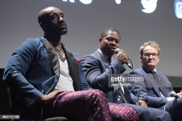 Rob Morgan Jason Mitchell and Jason Clarke speak onstage at the Q A following the screening of 'Mudbound' at the 55th New York Film Festival at Alice...