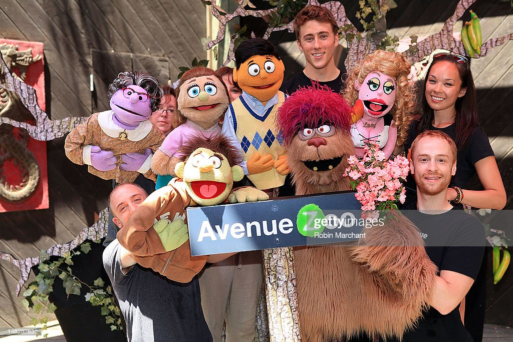 Rob Morrison, Darren Bluestone, Michael Liscio Jr., and Kate Lippstreu of Avenue Q visits at Bronx Zoo on July 12, 2012 in New York City.