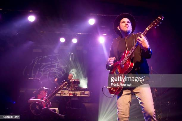 Rob Myers Eric Hilton and Rob Garza of the American band Thievery Corporation perform live during a concert at the Astra on February 24 2017 in...