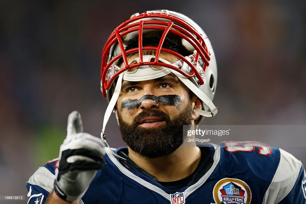 Rob Ninkovich #50 of the New England Patriots reacts against the Houston Texans at Gillette Stadium on December 10, 2012 in Foxboro, Massachusetts.