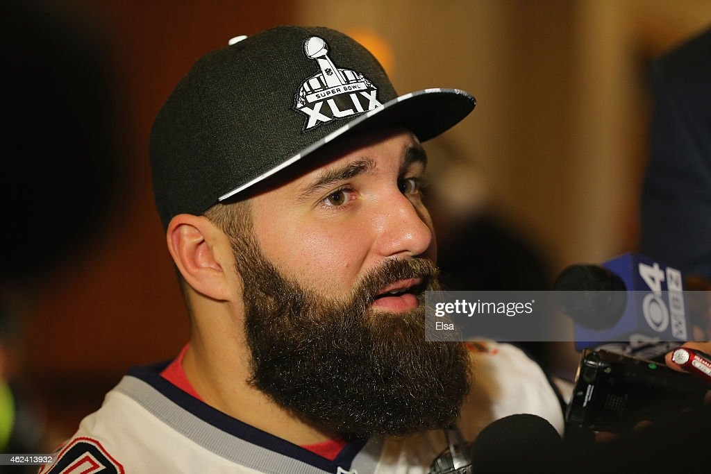 Rob Ninkovich of the New England Patriots speaks to the media during the New England Patriots Super Bowl XLIX Media Availability on January 28 2015...