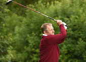 Rob Pike of West Hill Golf Club tees off form the 2nd hole during the The Lombard Trophy South Qualifier at Walton Heath Golf Club on July 8 2015 in...