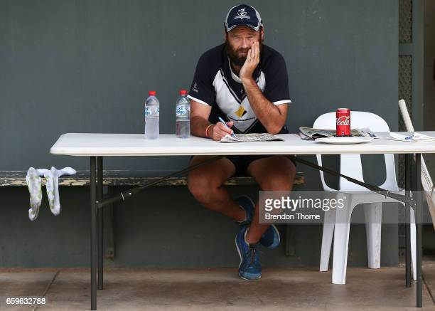 Rob Quiney of the Bushrangers looks on from the sidelines during the Sheffield Shield final between Victoria and South Australia on March 29 2017 in...