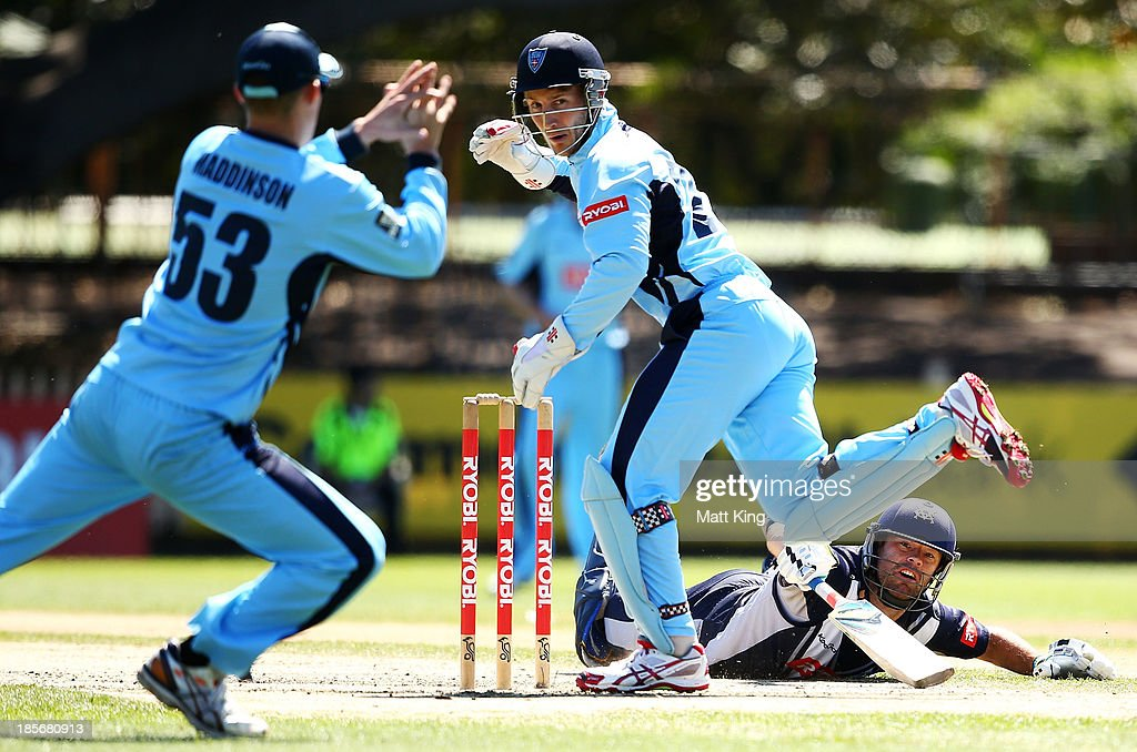 Rob Quiney of the Bushrangers survives runout attempt during the Ryobi Cup Elimination Final match between the Victoria Bushrangers and the New South...