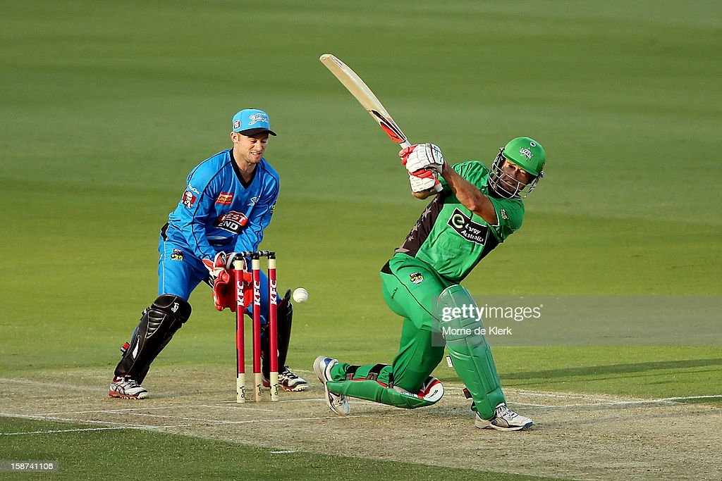 Rob Quiney of the Stars misses a shot to get bowled out during the Big Bash League match between the Adelaide Strikers and the Melbourne Stars at Adelaide Oval on December 27, 2012 in Adelaide, Australia.
