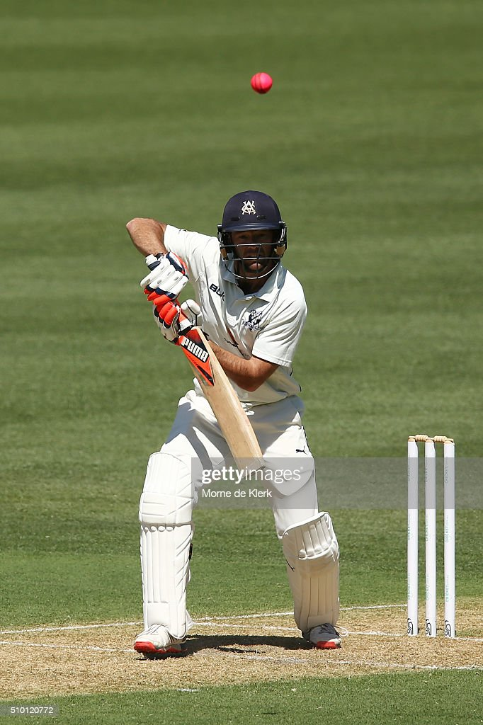 <a gi-track='captionPersonalityLinkClicked' href=/galleries/search?phrase=Rob+Quiney&family=editorial&specificpeople=4094716 ng-click='$event.stopPropagation()'>Rob Quiney</a> of the VIC Bushrangers bats during day one of the Sheffield Shield match between South Australia and Victoria at Adelaide Oval on February 14, 2016 in Adelaide, Australia.