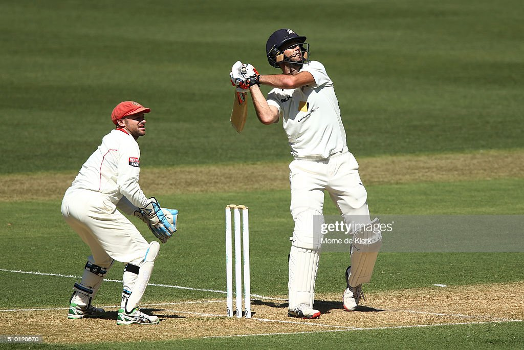 <a gi-track='captionPersonalityLinkClicked' href=/galleries/search?phrase=Rob+Quiney&family=editorial&specificpeople=4094716 ng-click='$event.stopPropagation()'>Rob Quiney</a> of the VIC Bushrangers plays a shot to get out during day one of the Sheffield Shield match between South Australia and Victoria at Adelaide Oval on February 14, 2016 in Adelaide, Australia.