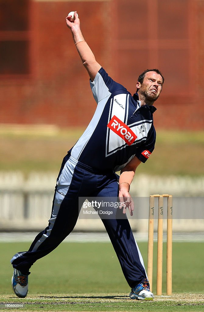 Rob Quiney of Victoria bowls during the International tour match between the Victorian 2nd XI and the England Lions at Junction Oval on February 7, 2013 in Melbourne, Australia.