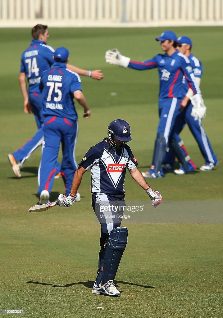 Rob Quiney of Victoria walks off after making a century during the International tour match between the Victorian 2nd XI and the England Lions at Junction Oval on February 7, 2013 in Melbourne, Australia.
