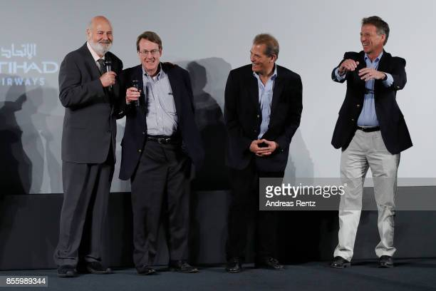 Rob Reiner and the journalists Warren Strobel John Walcott and Jonathan Landay attend a QA after the 'Shock and Awe' premiere at the 13th Zurich Film...