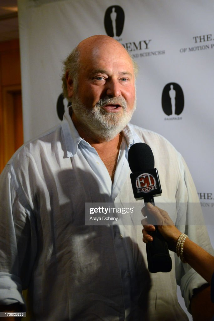 <a gi-track='captionPersonalityLinkClicked' href=/galleries/search?phrase=Rob+Reiner&family=editorial&specificpeople=208749 ng-click='$event.stopPropagation()'>Rob Reiner</a> attends the Academy Of Motion Picture Arts And Sciences' Presents 'The Princess Bride' With Live Commentary Onstage at AMPAS Samuel Goldwyn Theater on August 15, 2013 in Beverly Hills, California.