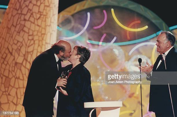 Rob Reiner Kathy Bates and Jonathan Winters at the American Comedy Awards on February 9 1997 at the Shrine Auditorium in Los Angeles California