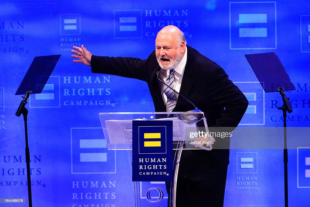 <a gi-track='captionPersonalityLinkClicked' href=/galleries/search?phrase=Rob+Reiner&family=editorial&specificpeople=208749 ng-click='$event.stopPropagation()'>Rob Reiner</a> speaks at the Human Rights Campaign dinner gala at the JW Marriott at L.A. LIVE on March 23, 2013 in Los Angeles, California.