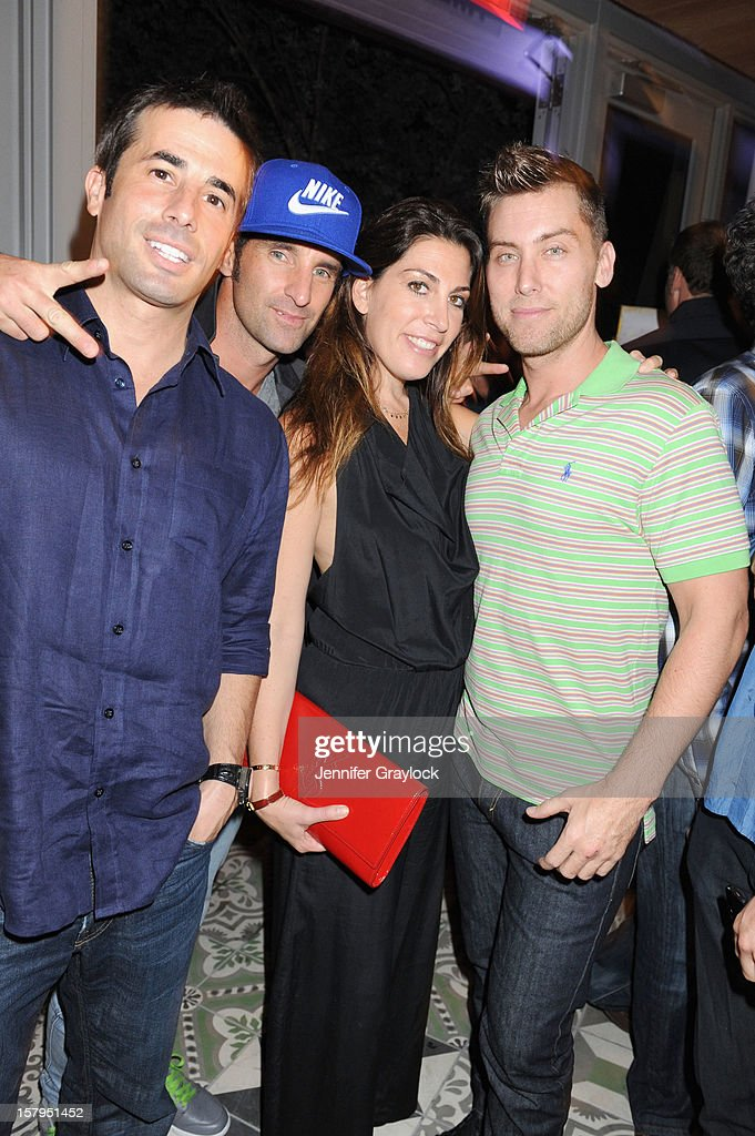Rob Rubano (L), Matthew Halliday (2nd from L) and Lance Bass (R) attend the Domingo Zapata Installation at The W hosted by Haute Living and Hublot at SLS South Beach on December 7, 2012 in Miami, United States.