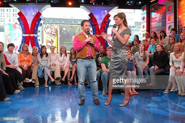 Rob Schneider and MTV VJ Vanessa Minnillo during Lucy Liu Josh Hartnett and Rob Schneider Visit MTV's 'TRL' April 6 2006 at MTV Studios Times Square...