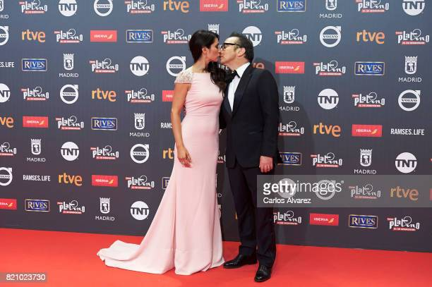 Rob Schneider and Patricia Azarcoya attend Platino Awards 2017 photocall at the La Caja Magica on July 22 2017 in Madrid Spain