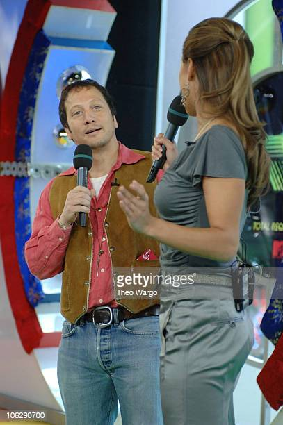 Rob Scneider and Vanessa Minnillo during Lucy Liu Josh Hartnett and Rob Schneider Visit MTV's 'TRL' April 6 2006 at MTV Studios Times Square in New...