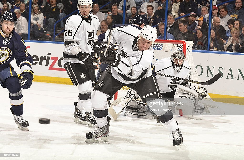 <a gi-track='captionPersonalityLinkClicked' href=/galleries/search?phrase=Rob+Scuderi&family=editorial&specificpeople=228124 ng-click='$event.stopPropagation()'>Rob Scuderi</a> #7 of the Los Angeles Kings clears the puck against the St. Louis Blues in an NHL game on March 28, 2013 at Scottrade Center in St. Louis, Missouri.