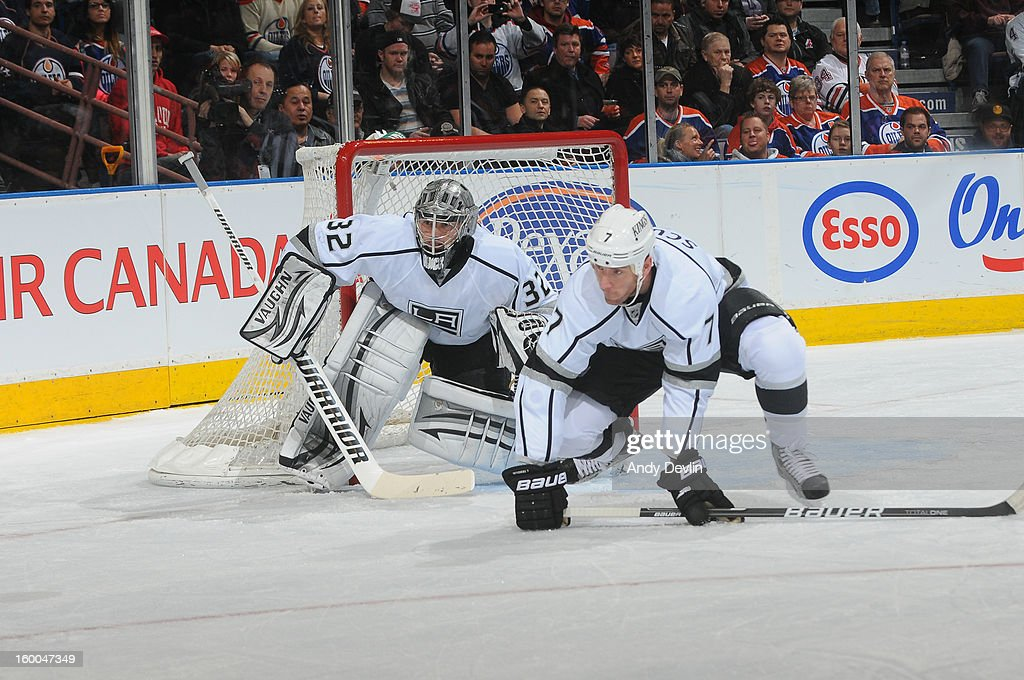 Rob Scuderi #7 of the Los Angeles Kings prepares to block a shot in a game against the Edmonton Oilers at Rexall Place on January 24, 2013 in Edmonton, Alberta, Canada.