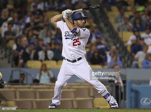 Rob Segedin of the Los Angeles Dodgers bats during the eighth inning of their MLB game against the San Diego Padres at Dodger Stadium on September 2...