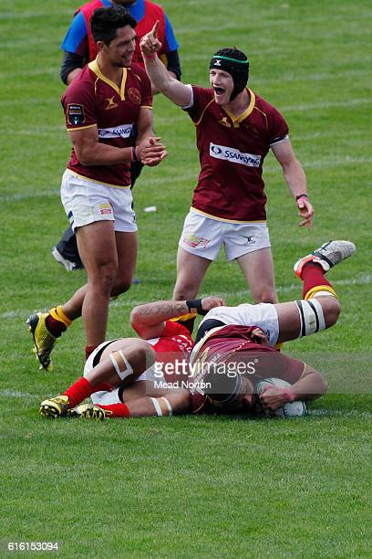 Rob Sherson scoring a try to seal the win in the closing seconds during the Heartland Lochore Cup match between King Country and Poverty Bay on...