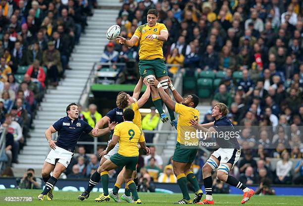 Rob Simmons of Australia wins lineout ball during the 2015 Rugby World Cup Quarter Final match between Australia and Scotland at Twickenham Stadium...