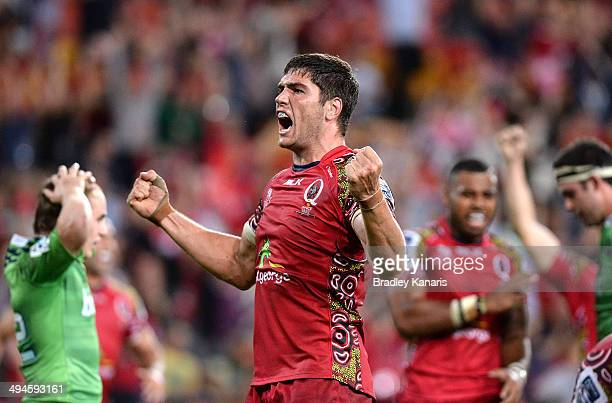 Rob Simmons of the Reds celebrates victory after team mate Jake Schatz scores after the full time siren to win the match after the round 16 Super...