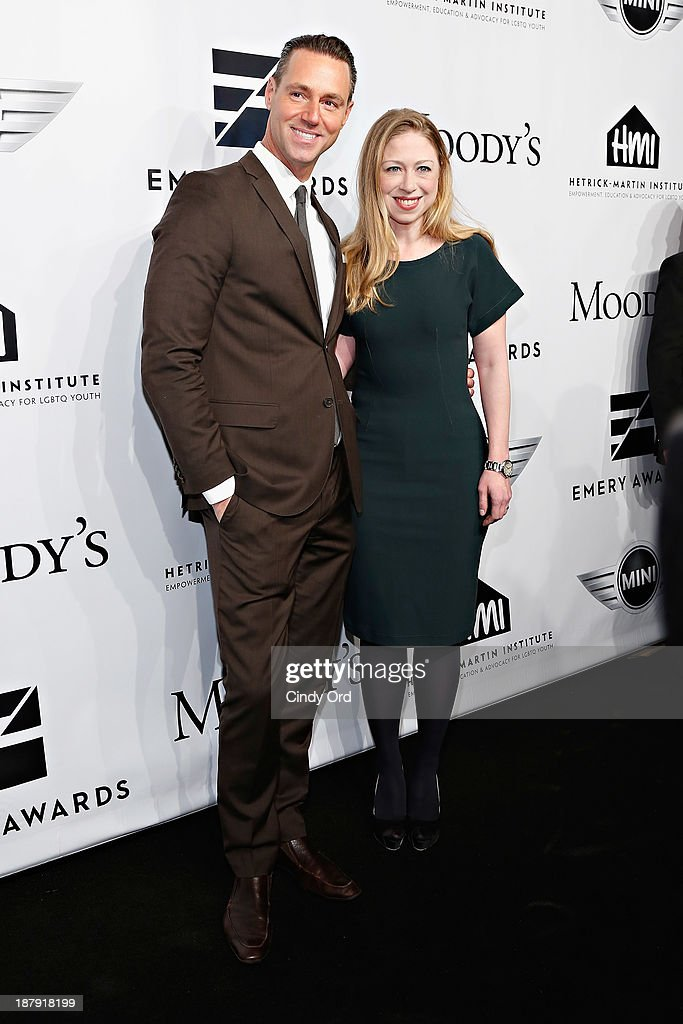Rob Smith and <a gi-track='captionPersonalityLinkClicked' href=/galleries/search?phrase=Chelsea+Clinton&family=editorial&specificpeople=119698 ng-click='$event.stopPropagation()'>Chelsea Clinton</a> attend the 2013 Emery Awards at Cipriani Wall Street on November 13, 2013 in New York City.