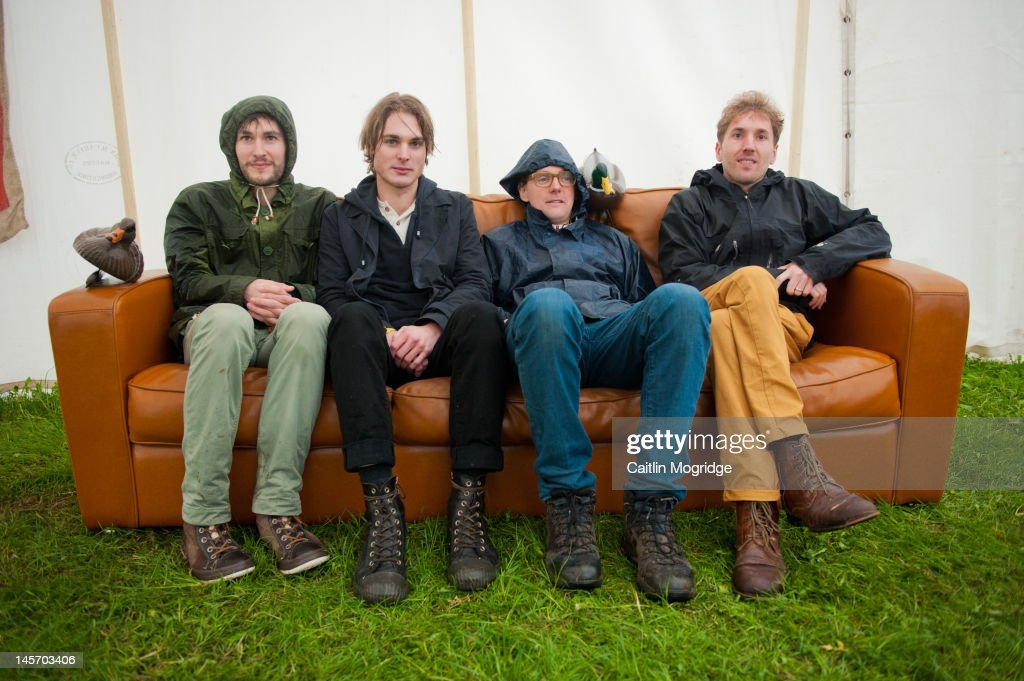 Rob Steadman, Jonathan Ouin, Oli Steadman and Brian Briggs of Stornoway pose for a photo backstage during Apple Cart Festival at Victoria Park on June 3, 2012 in London, United Kingdom.