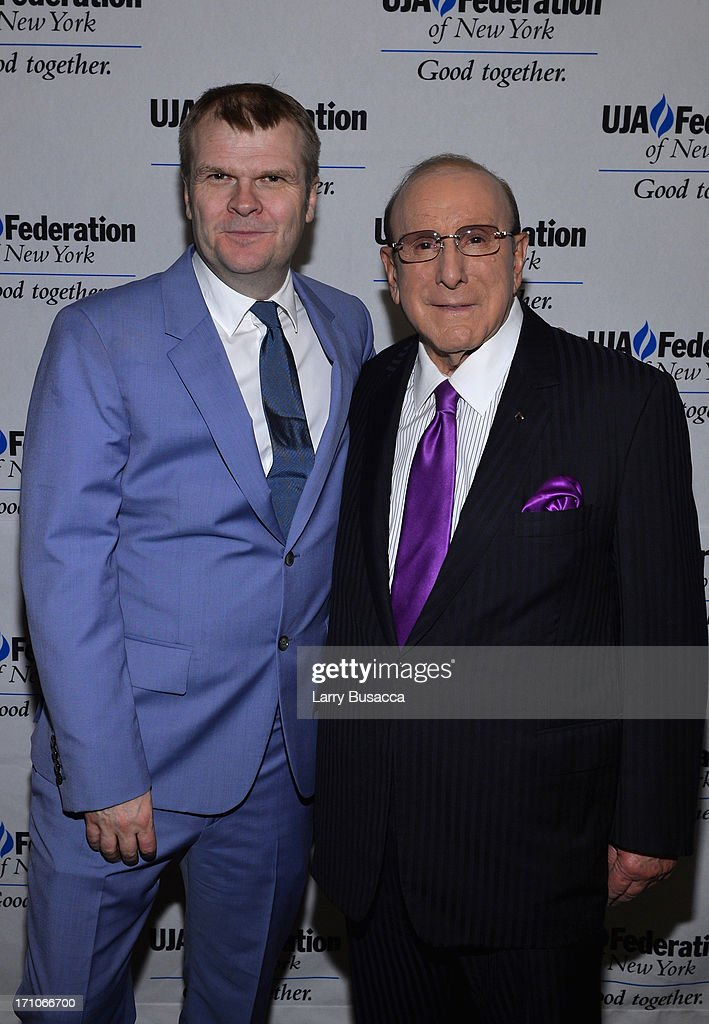 Rob Stringer and Clive Davis attend a luncheon honoring Rob Stringer as UJA-Federation of New York Music Visionary of 2013 at The Pierre Hotel on June 21, 2013 in New York City.