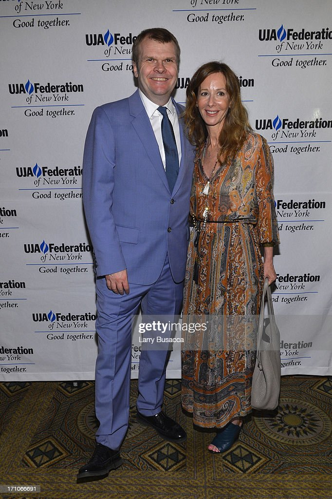 Rob Stringer and Jody Gerson attend a luncheon honoring Rob Stringer as UJA-Federation of New York Music Visionary of 2013 at The Pierre Hotel on June 21, 2013 in New York City.