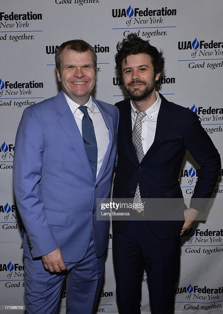 Rob Stringer and Michael Angelakos from Passion Pit attend a luncheon honoring Rob Stringer as UJA-Federation of New York Music Visionary of 2013 at The Pierre Hotel on June 21, 2013 in New York City.