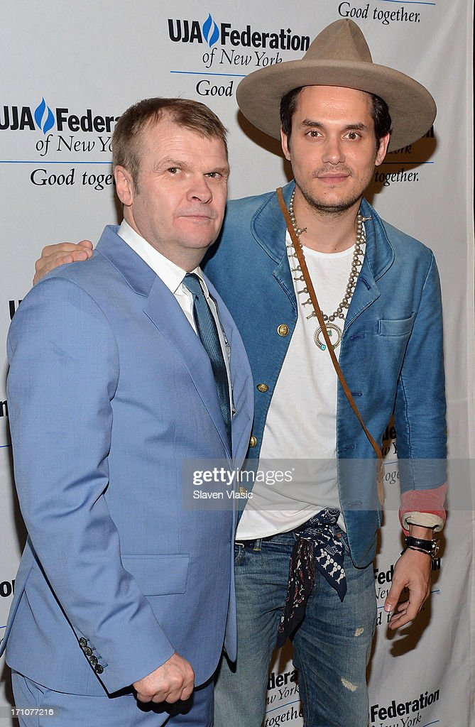 Rob Stringer (L), Chairman of the Columbia Records and musician John Mayer attend UJA-Federation Of New York Music Visionary Of The Year Award Luncheon at The Pierre Hotel on June 21, 2013 in New York City.