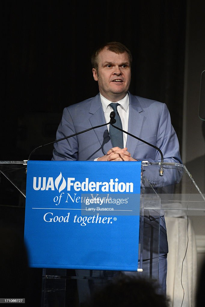 Rob Stringer speaks onstage at a luncheon honoring Rob Stringer as UJA-Federation of New York Music Visionary of 2013 at The Pierre Hotel on June 21, 2013 in New York City.
