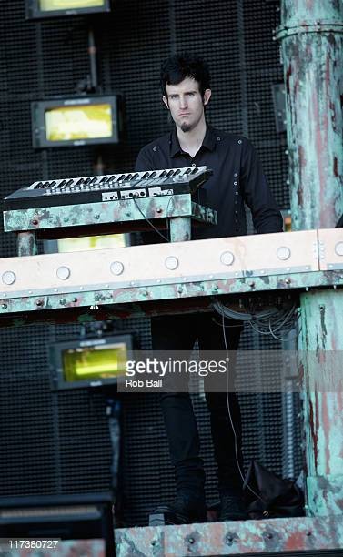 Rob Swire from Pendulum perform on the Pyraid Stage at Glastonbury Festival on June 26 2011 in Glastonbury England