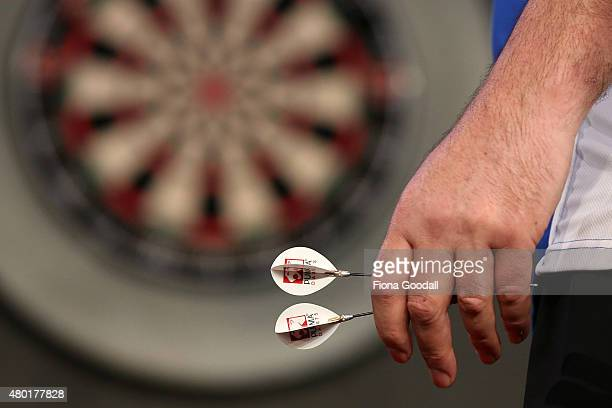 Rob Szabo of Wellington takes a shot during the New Zealand Super League Darts Competition between Rob Szabo and Mark McGrath at Sky City Convention...