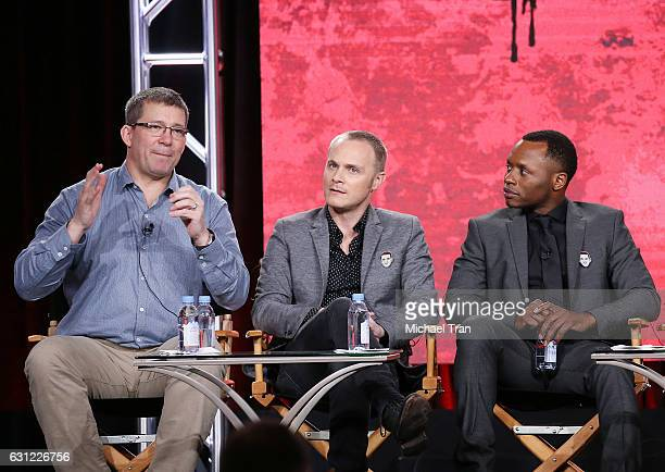 Rob Thomas David Anders and Malcolm Goodwin for the 'iZombie' television show speak onstage during the 2017 Winter TCA Tour Panels CW held at The...