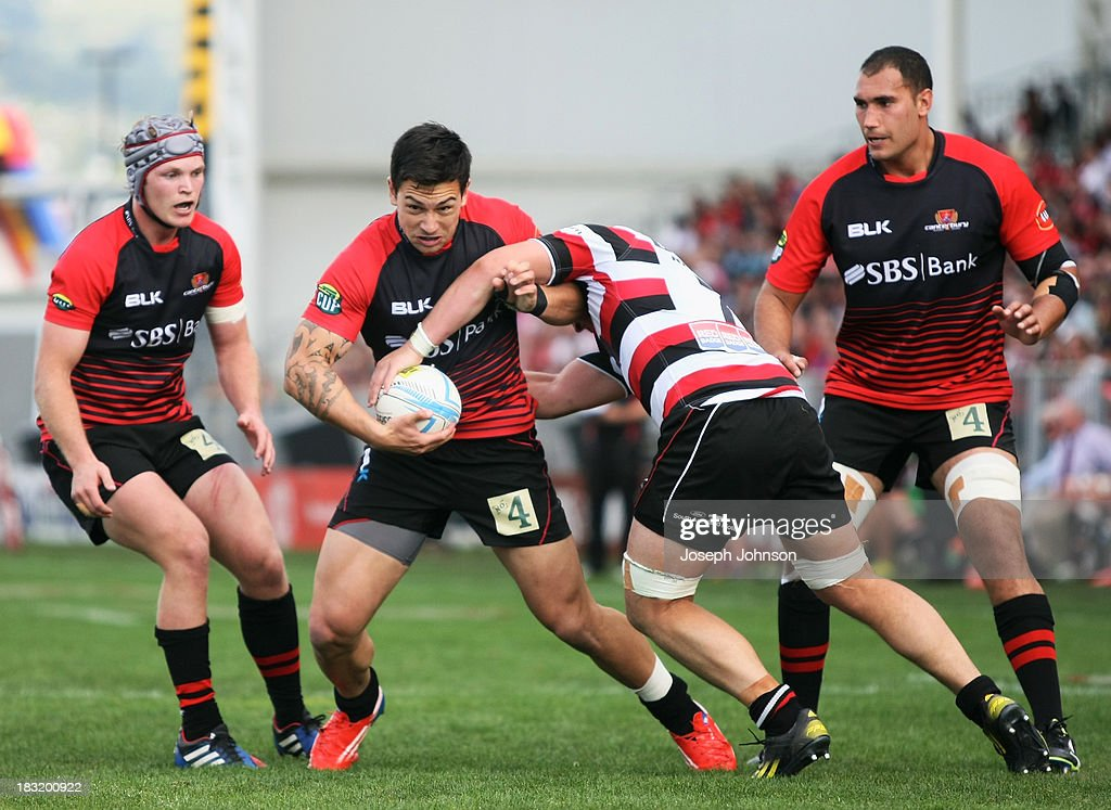 Rob Thompson of Canterbury in the tackle of Sean Reidy of Counties Manukau during the round eight ITM Cup match between Cantebury and Counties Manukau at AMI Stadium on October 6, 2013 in Christchurch, New Zealand.
