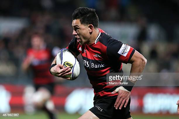 Rob Thompson of Canterbury makes a break during the round five ITM Cup match between Canterbury and Hawkes Bay at AMI Stadium on September 12 2015 in...