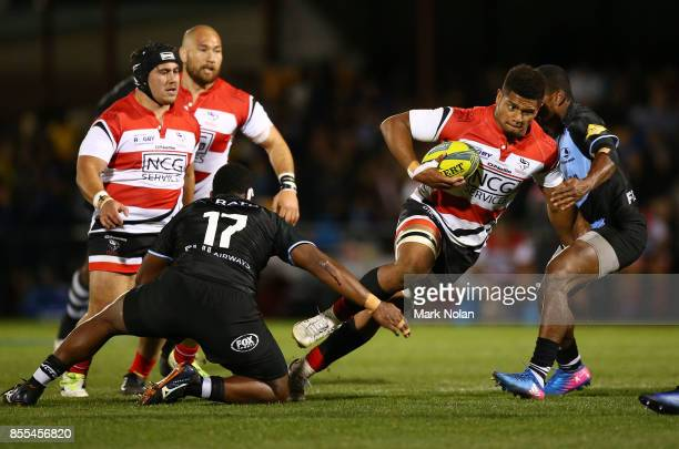Rob Valentini of the Vikings runs the ball during the round five NRC match between Canberra and Fiji at Viking Park on September 29 2017 in Canberra...