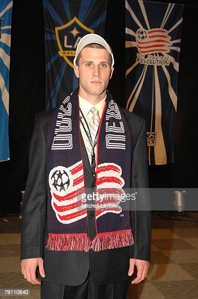 Rob Valentino poses poses for photo after being selected 13th by New England Revolution in the MLS Super Draft on January 18 2008 at the Baltimore...