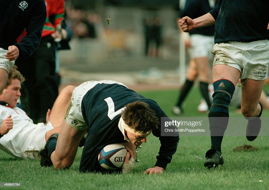 <a gi-track='captionPersonalityLinkClicked' href=/galleries/search?phrase=Rob+Wainwright&family=editorial&specificpeople=2724424 ng-click='$event.stopPropagation()'>Rob Wainwright</a> scores a try for Scotland during the Rugby Union International between Scotland and England at Murrayfield in Edinburgh on 5th February 1994. England won 15-14.