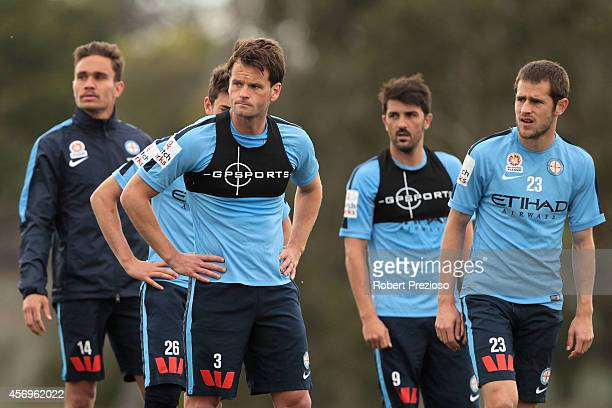 Rob Wielaert listens to instructions during a Melbourne City ALeague training session at La Trobe University Sports Fields on October 10 2014 in...