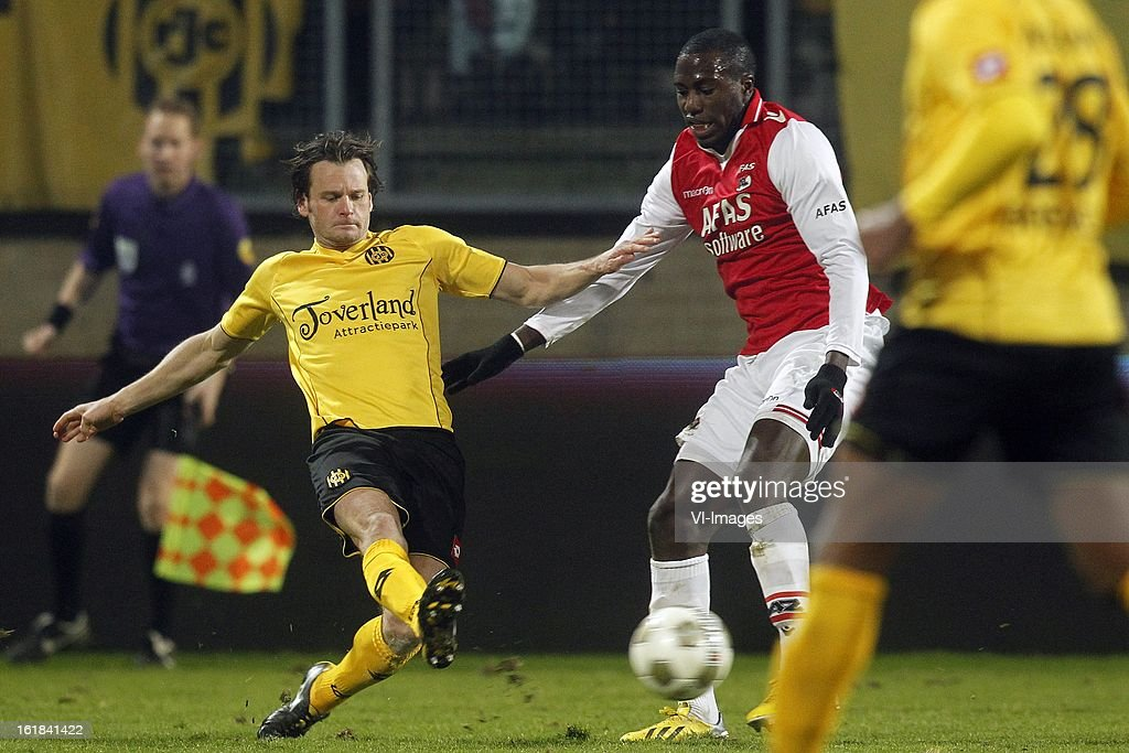 Rob Wielaert of Roda JC (L), Jozy Altidore of AZ (R) during the Dutch Eredivisie match between Roda JC Kerkrade and AZ Alkmaar at the Parkstad Limburg Stadium on february 16, 2013 in Kerkrade, The Netherlands