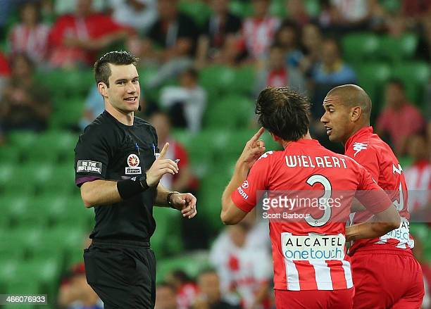Rob Wielaert of the Heart gestures to referee Jarred Gillett during the round 17 ALeague match between Melbourne Heart and Sydney FC at AAMI Park on...