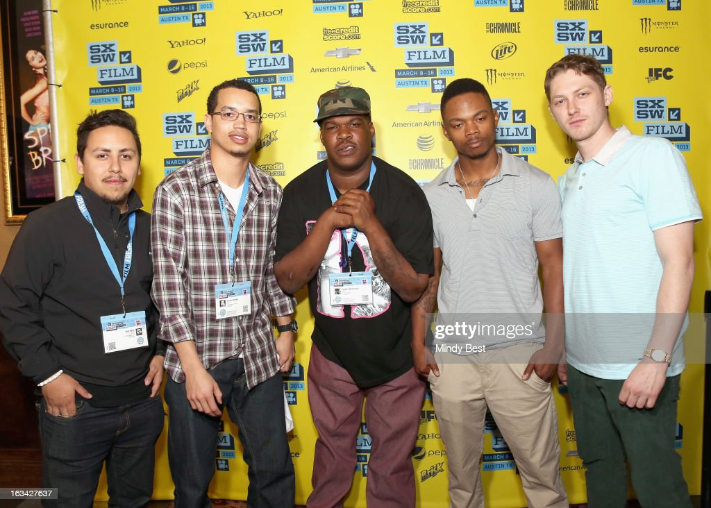 DP Rob Witt, editor Vinnie Hobbs, writer Justin Robinson, 1st AD Adrian Burrell and musician Ian Ericksen pose in the greenroom at the screening of 'Licks' during the 2013 SXSW Music, Film + Interactive Festival at Alamo Ritz on March 9, 2013 in Austin, Texas.