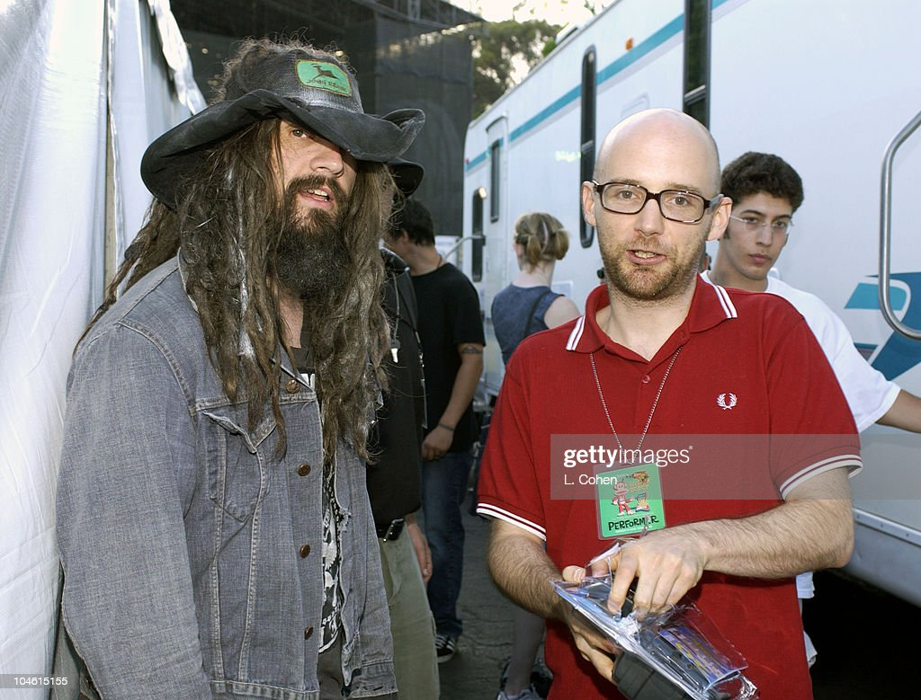 Rob Zombie Moby during 10th Annual KROQ Weenie Roast at Verizon Amphitheater in Irvine California United States