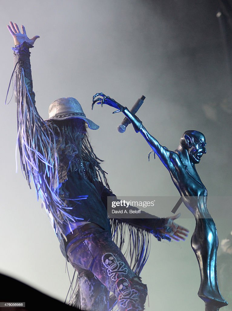 Rob Zombie performs during the Super Monster Sex Action Tour at Ntelos Wireless Pavilion on June 5 2015 in Portsmouth Virginia