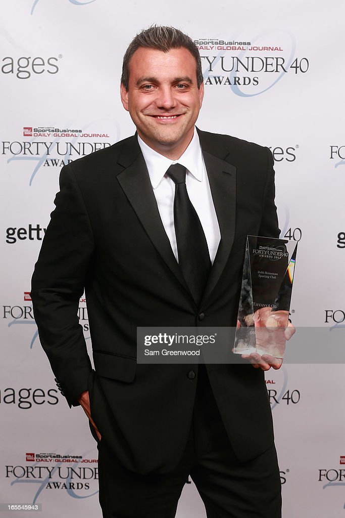 Robb Heineman of Sporting Club poses with award at the 2013 Forty Under 40 Awards on April 4, 2013 in Naples, Florida.