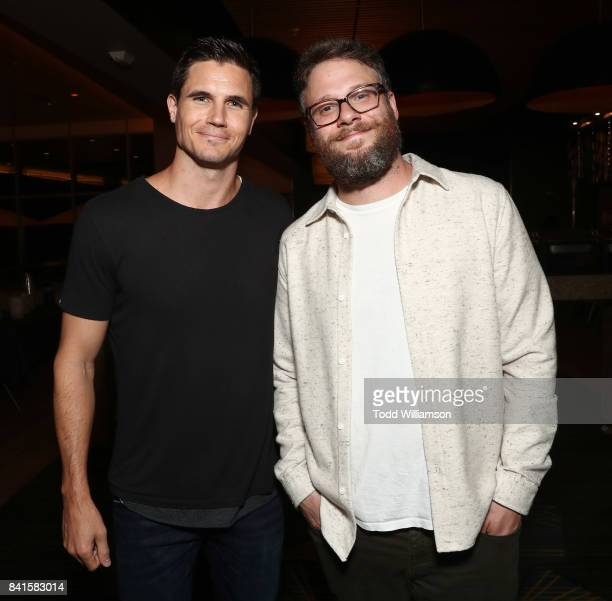 Robbie Amell and Seth Rogen attend the premiere of And Action's 'Dumpster Diving' at Cinemark Playa Vista on August 31 2017 in Los Angeles California